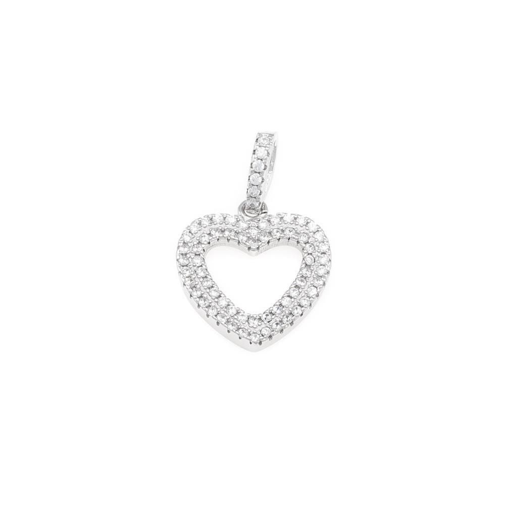 Paclo 17C006IPPR999 argento ag 925 Pendente Galvanica Rodiata Zircone Bianco Cuore 14cm