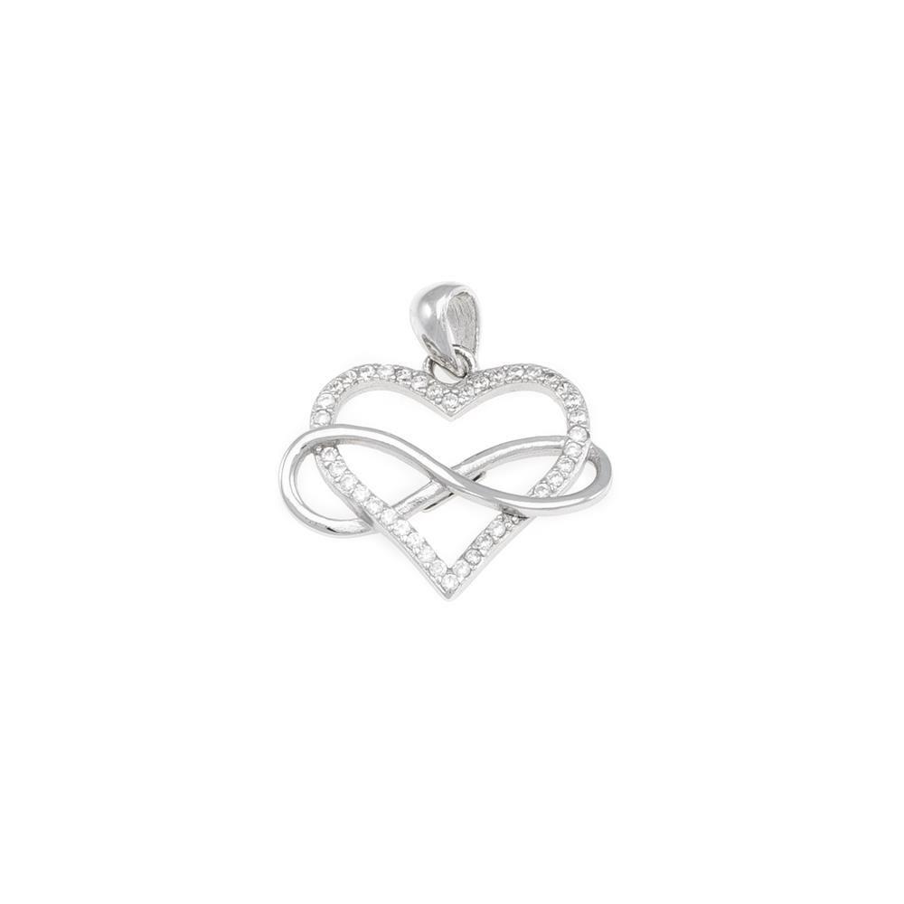 Paclo 17C015IPPR999 argento ag 925 Pendente Galvanica Rodiata Zircone Bianco Cuore e Infinito 15cm