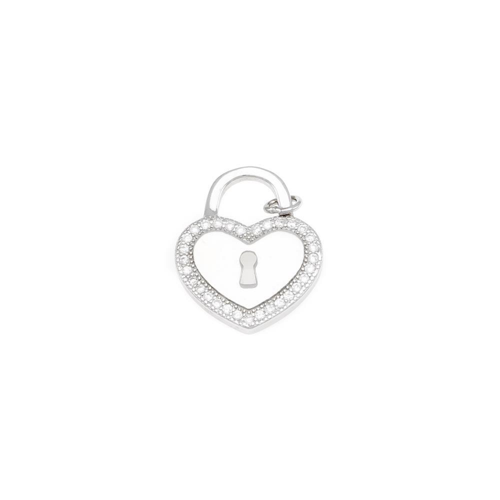 Paclo 17K005IPPR999 argento ag 925 Pendente Galvanica Rodiata Zircone Bianco Cuore 18cm