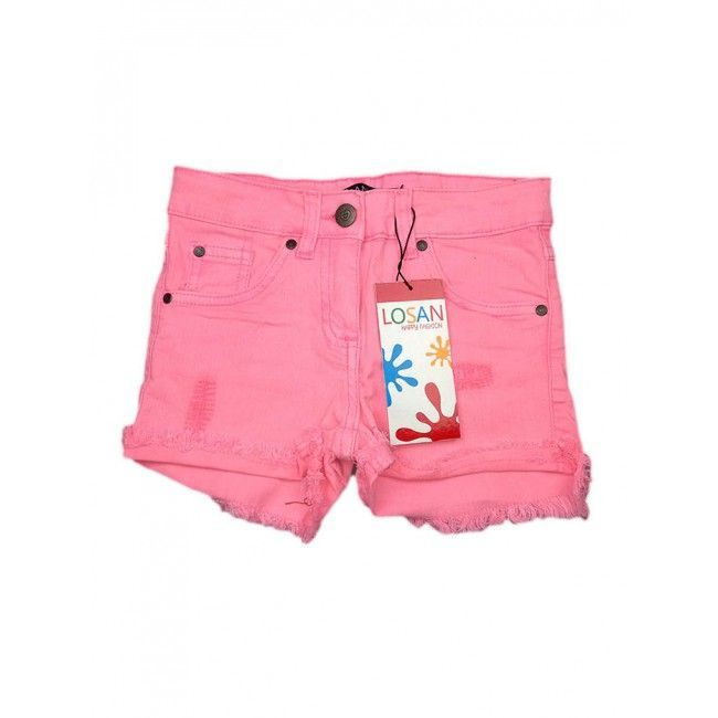 Pantaloncino shorts jeans bimba bambina Losan rosa 6A