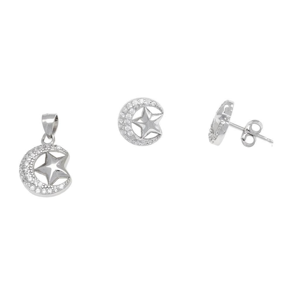 Paclo 17ST02IPSR999 argento ag 925 Set Galvanica Rodiata Zircone Bianco Luna e Stella E1cm P12cm