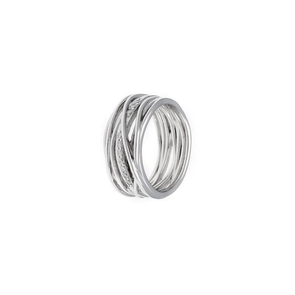 Paclo 17Z011IPRR99X argento ag 925 Anello Dim 12 ITA o 52 ISO Galvanica Rodiata Zircone Bianco della Vita