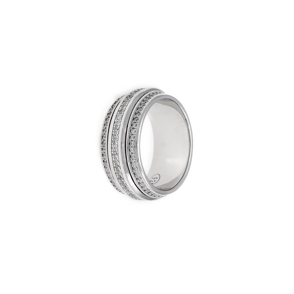 Paclo 17Z012IPRR99U argento ag 925 Anello Dim 18 ITA o 58 ISO Galvanica Rodiata Zircone Bianco