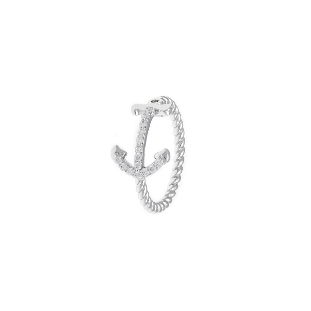 Paclo 17Z014IPRR996 argento ag 925 Anello Dim 14 ITA o 54 ISO Galvanica Rodiata Zircone Bianco Ancora