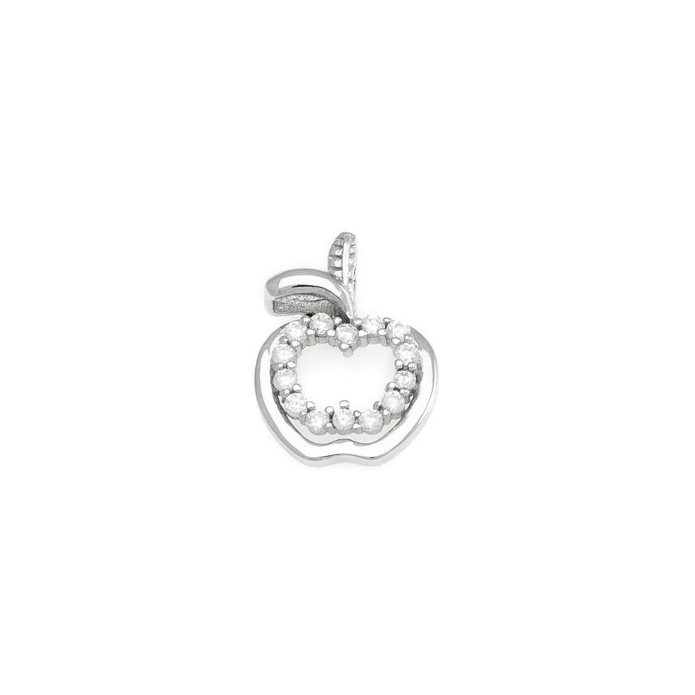 Paclo 17Z042IPPR999 argento ag 925 Pendente Galvanica Rodiata Zircone Bianco Mela 15cm
