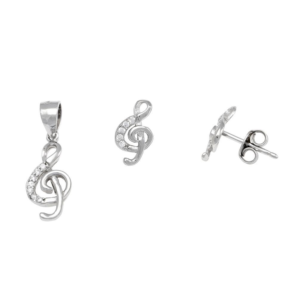 Paclo 17Z075IPSR999 argento ag 925 Set Galvanica Rodiata Zircone Bianco Chiave di Violino E1cm P15cm