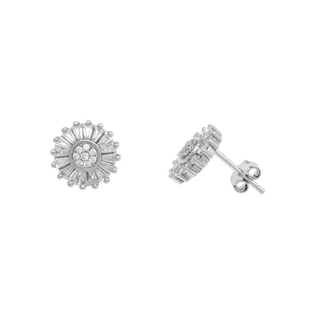 Paclo 17Z077IPER999 argento ag 925 Orecchini Galvanica Rodiata Zircone Bianco 1cm