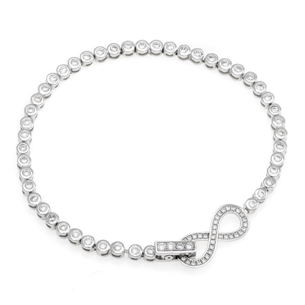 Paclo 17Z084IPBR999 argento ag 925 Bracciale Galvanica Rodiata Zircone Bianco Infinito 18cm